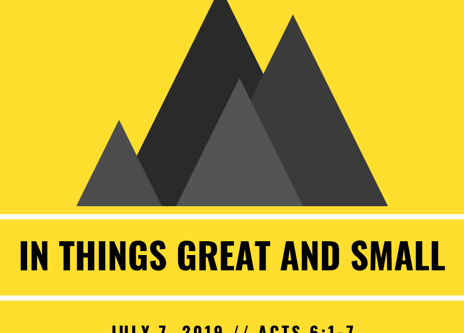 July 7, 2019: In Things Great and Small